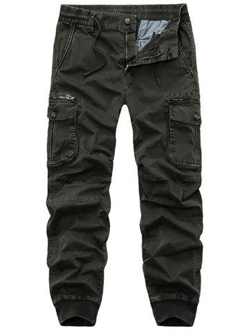 Shops Flap Pockets Zip Fly Beam Feet Cargo Pants - 36 ARMY GREEN Mobile