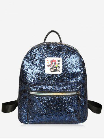 Trendy Zipper Sequin Backpack BLUE