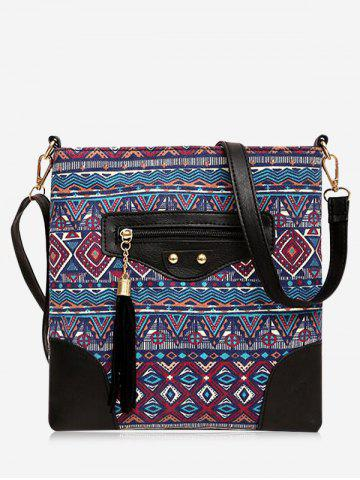 Latest Tassel Tribal Print Rivet Crossbody Bag