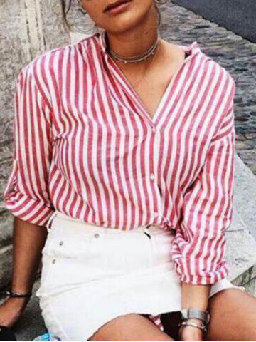 Hot V Neck Striped Shirt - S LIGHT RED Mobile