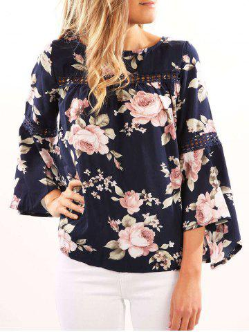 Chic Flare Sleeve Floral Smock Top - S PURPLISH BLUE Mobile