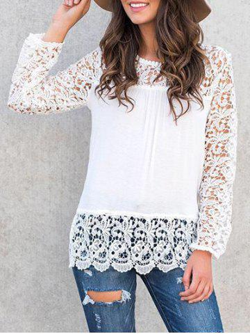 Cheap Long Sleeve T Shirt with Lace WHITE S