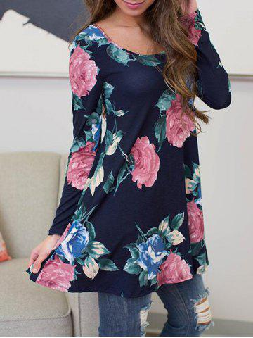 Buy Long Sleeve Floral Tunic T Shirt - S PURPLISH BLUE Mobile