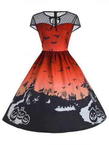 Shops Vintage Mesh Panel Halloween A Line Dress - 2XL ORANGE Mobile