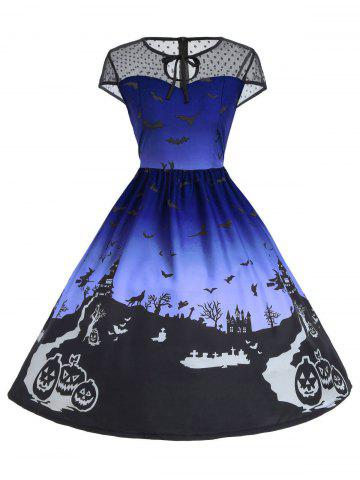 Affordable Vintage Mesh Panel Halloween A Line Dress - 2XL BLUE Mobile