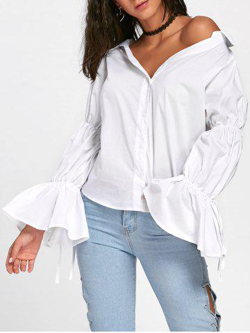 Discount Convertible Oversized Bell Sleeve Shirt - S WHITE Mobile