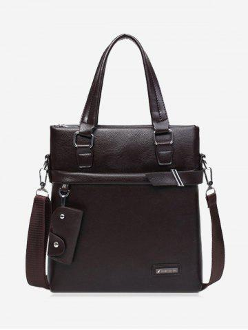 Affordable PU Leather Metal Crossbody Bag with Key Case - BROWN  Mobile