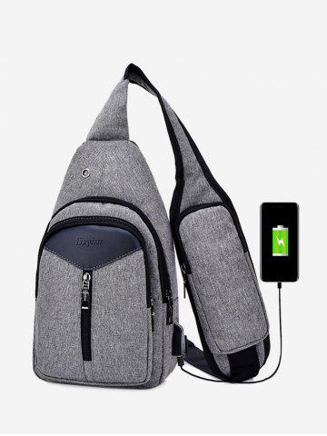 Discount Chest Bag With Usb Charging Port - GRAY  Mobile