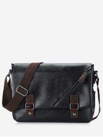 Chic Double Buckle Straps Two Tone Crossbody Bag - BLACK  Mobile