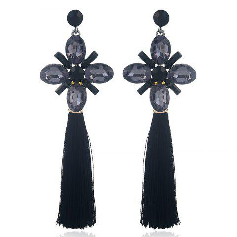 Cheap Faux Crystal Floral Tassel Vintage Earrings - BLACK  Mobile
