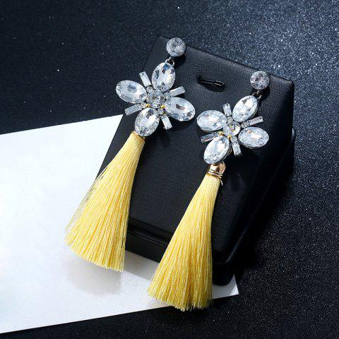 Outfit Faux Crystal Floral Tassel Vintage Earrings - YELLOW  Mobile