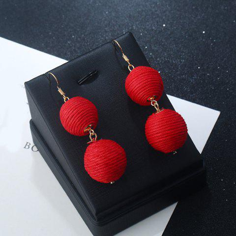 Outfits Wax Rope Double Ball Hook Earrings