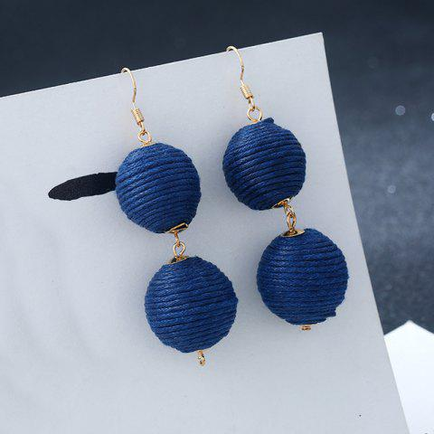 Unique Wax Rope Double Ball Hook Earrings