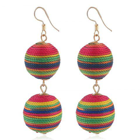 Shops Wax Rope Double Ball Hook Earrings COLORMIX