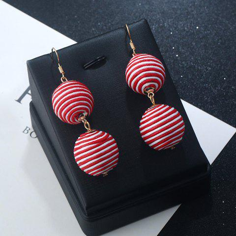 Discount Wax Rope Double Ball Hook Earrings - RED STRIPE  Mobile