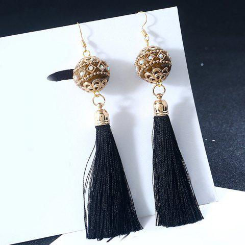 Cheap Vintage Rhinestone Tassel Ball Hook Earrings BLACK