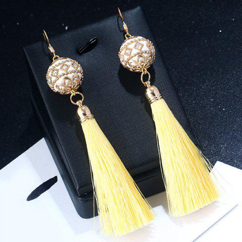 Chic Vintage Rhinestone Tassel Ball Hook Earrings - LIGHT YELLOW  Mobile