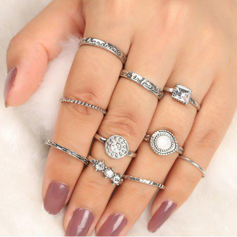 New Rhinestone Geometric Antique Finger Ring Set - SILVER  Mobile