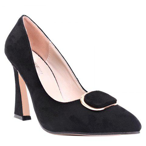 Affordable Faux Suede Buckle-toe Pumps - 36 BLACK Mobile