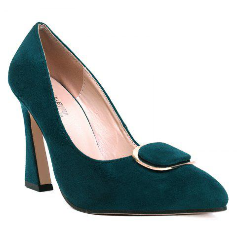 New Faux Suede Buckle-toe Pumps - 37 GREEN Mobile