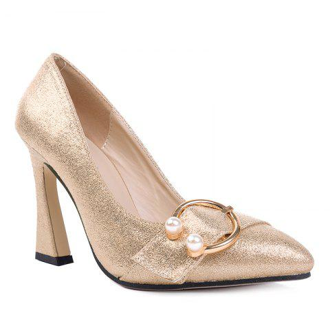 Unique Faux Gem Metal Ring Glitter Pumps - 35 GOLDEN Mobile