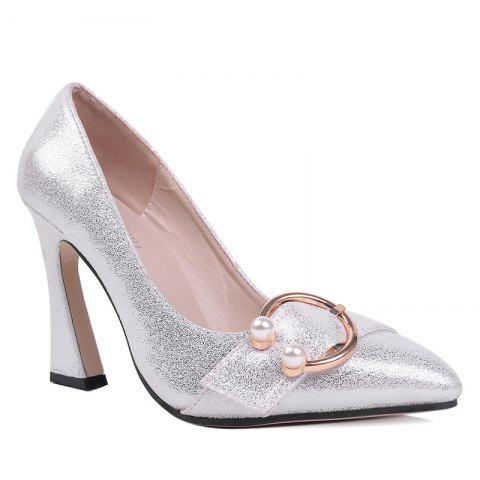 New Faux Gem Metal Ring Glitter Pumps - 39 SILVER Mobile