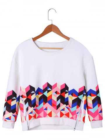 Shop Zipper Detail Geometric Sweatshirt - M WHITE Mobile