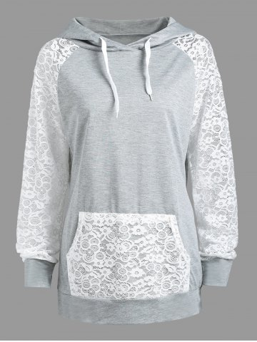 Online Lace Panel Raglan Sleeve Kangaroo Hoodie LIGHT GRAY S