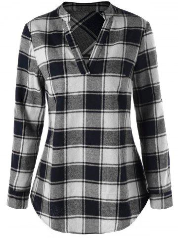 Buy Split Neck Curved Hem Plaid Blouse BLACK + WHITE 2XL
