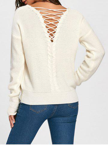 Fancy Cable Knitted Back Lace Up Sweater - ONE SIZE OFF-WHITE Mobile