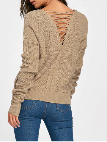 Cheap Cable Knitted Back Lace Up Sweater - ONE SIZE COFFEE Mobile