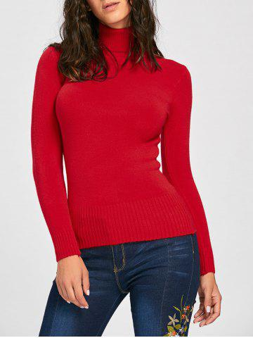 New Long Sleeve Turtleneck Pullover Sweater RED ONE SIZE