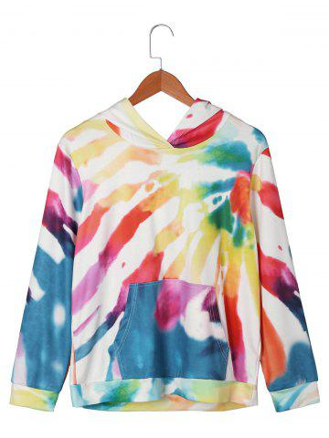 Unique Kangaroo Pocket Graphic Tie Dye Hoodie - M COLORMIX Mobile