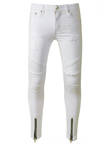 Outfits Zip Hem Distressed Skinny Biker Jeans WHITE 32