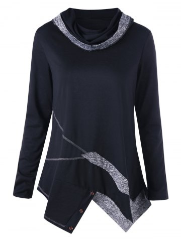 Store Marled Trim Cowl Neck Top