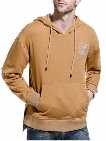 Latest Drop Shoulder Panel Long Sleeve Embroidered Hoodie KHAKI M