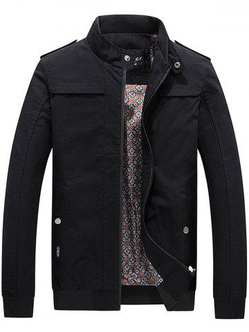 Cheap Epaulet Rib Panel Zip Up Jacket BLACK 4XL