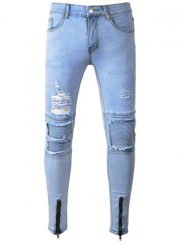 Discount Zip Hem Skinny Destroyed Biker Jeans - 32 LIGHT BLUE Mobile