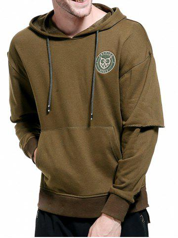 Trendy Drop Shoulder Panel Long Sleeve Embroidered Hoodie - 2XL ARMY GREEN Mobile