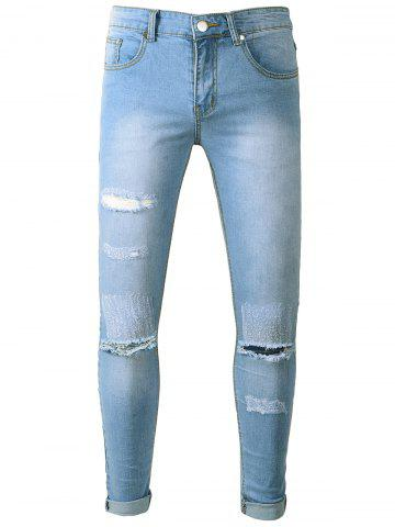 Fancy Light Wash Distressed Skinny Jeans - 32 LIGHT BLUE Mobile