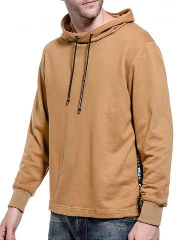 Online Graphic Braid Side Zip Pullover Hoodie - M KHAKI Mobile