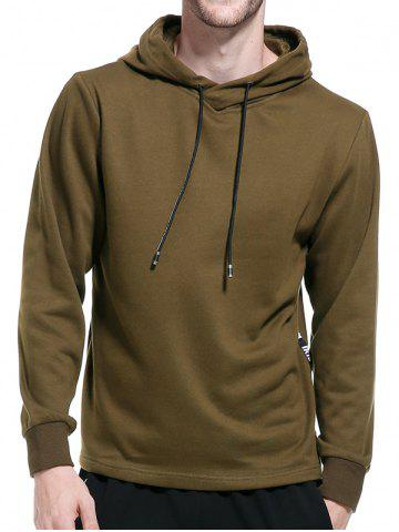Online Graphic Braid Side Zip Pullover Hoodie - 2XL ARMY GREEN Mobile