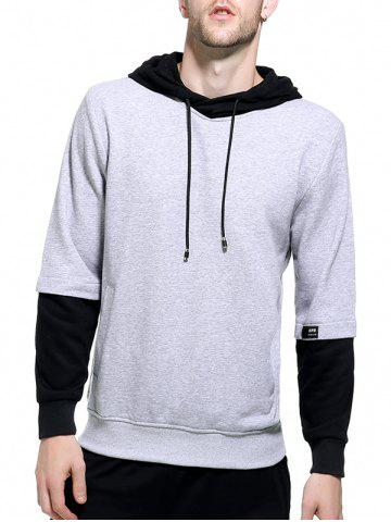 Store Graphic Print Color Block Pullover Hoodie - M GRAY Mobile