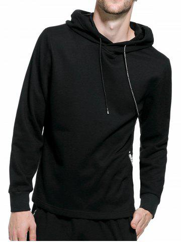 Trendy Graphic Braid Side Zip Pullover Hoodie - 2XL BLACK Mobile