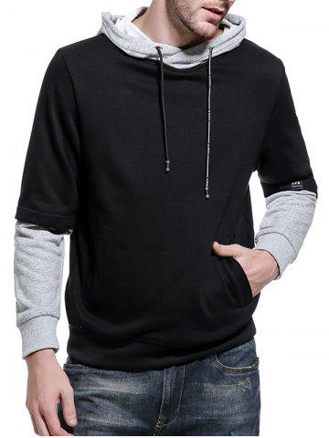 Fancy Graphic Print Color Block Pullover Hoodie - 2XL BLACK Mobile