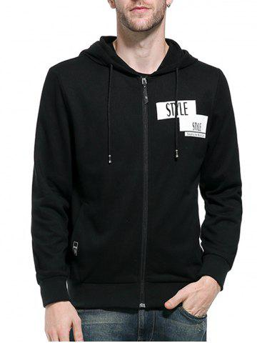 Outfits Graphic Print Zip Up Hoodie - M BLACK Mobile