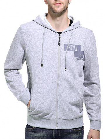 Outfit Graphic Print Zip Up Hoodie GRAY 2XL