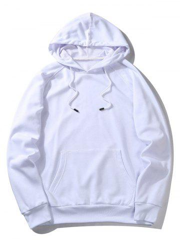 Trendy Raglan Sleeve Pocket Pullover Hoodie - M WHITE Mobile