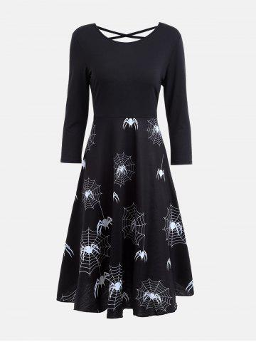 Affordable Halloween Spider Web Print Casual Flare Dress BLACK S