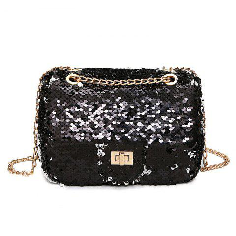 Outfit Chain Glitter Crossbody Bag - BLACK  Mobile